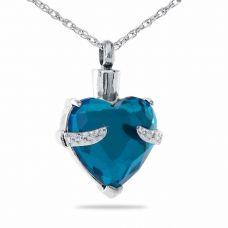 Aqua Blue Silver Crystal Pendant Cremation Urn