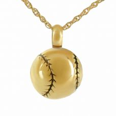 Baseball Fanatic Gold Pendant Cremation Jewelry