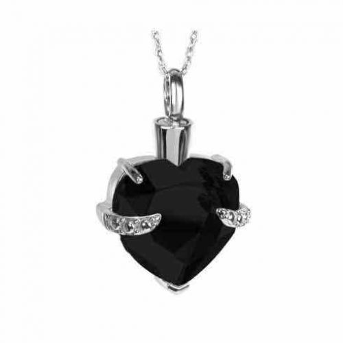 Black Crystal Heart Silver Pendant Cremation Chamber Jewelry Necklace -  - 70050