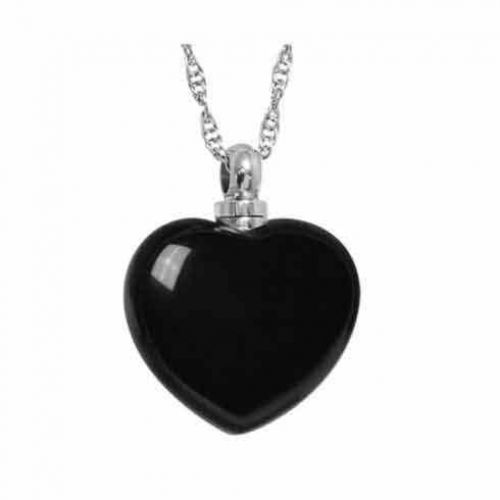 Black Heart Necklace Keepsake Cremation Jewelry -  - 44304