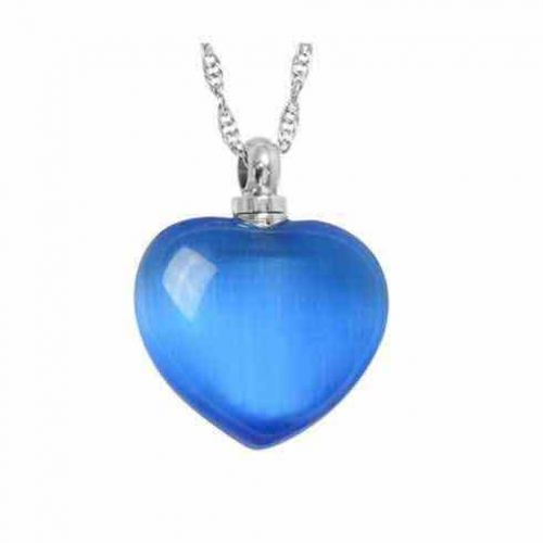 Blue Cat s Eye Necklace Keepsake Cremation Chamber Jewelry -  - 44102