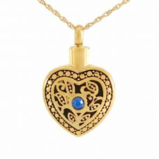Blue Crystal Floral Gold Heart Keepsake Pendant Cremation Jewelry