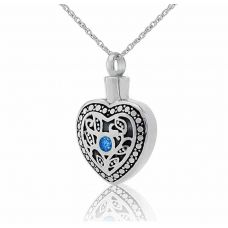 Celestial Heart Pendant Cremation Chamber Jewelry Necklace