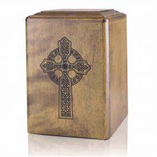 Celtic Cross Wooden Cremation Urn