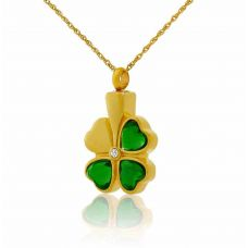 Celtic Shamrock Gold Keepsake Cremation Necklace