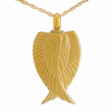 Cherished Angel Wings Gold Cremation Pendant
