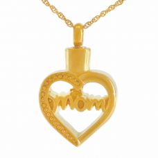 Cherished Mom Gold Pendant Cremation Chamber Jewelry Necklace