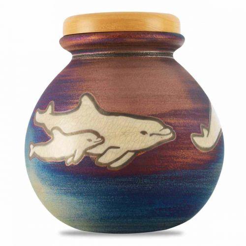 Colorful Dolphins Raku Cremation Urn - Lid Engraving -  - 3765