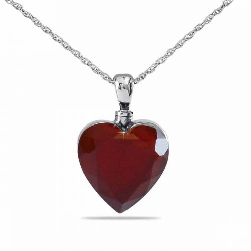 Deep Love Red Silver Keepsake Cremation Jewelry -  - 77217