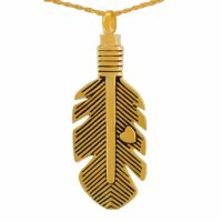 Delicate Feather Gold Keepsake Cremation Jewelry Necklace