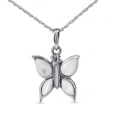 White Winged Butterfly Silver Cremation Necklace