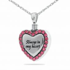 Always In My Heart Cremation Pendant With Pink Stones