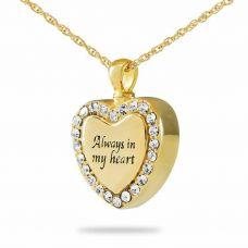 Always in My Heart Fancy Steel Gold Keepsake Necklace