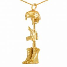 Gold Battlecross Pendant Cremation Jewelry Necklace