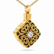 Gold Detailed Crystal Pendant Cremation Jewelry Necklace