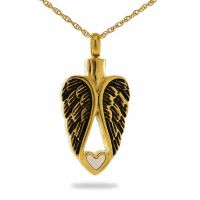 Gold Heart of an Angel Pendant Cremation Urn