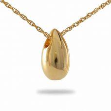 Golden Teardrop Keepsake Pendant Cremation Chamber Jewelry