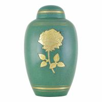 Green Golden Rose Cremation Urn