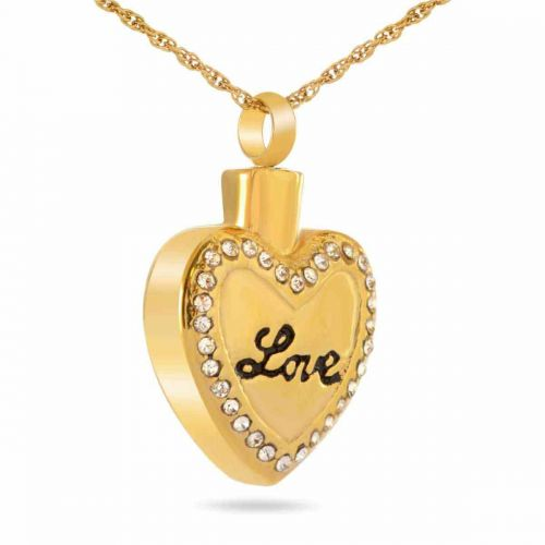 Heart With Stones Gold Keepsake Cremation Jewelry -  - 37343