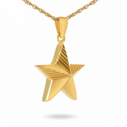 Military Service Gold Keepsake Cremation Chamber Jewelry Necklace -  - 90111