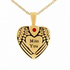 Miss You Gold Pendant Cremation Jewelry Necklace