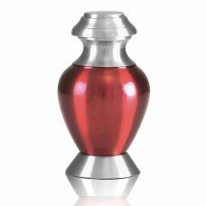 Modern Red Brass Keepsake Cremation Urn