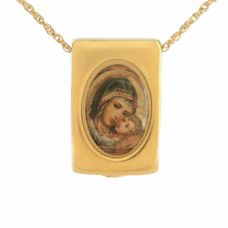 Mother Mary Gold Pendant Cremation Chamber Jewelry