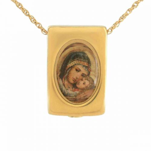 Mother Mary Gold Pendant Cremation Chamber Jewelry -  - 21033