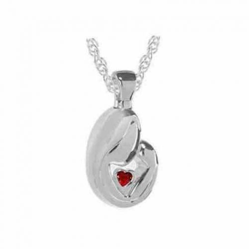 Mother s Love Red Stone Silver Keepsake Cremation Jewelry -  - 33143