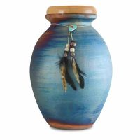 Native American Feathers Raku Cremation Urn