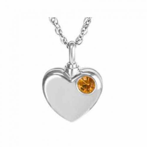 Orange Crystal Pendant Cremation Chamber Jewelry Necklace -  - 60029