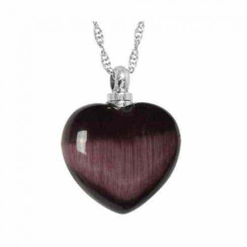 Purple Cat s Eye Pendant Keepsake Cremation Chamber Jewelry -  - 44305