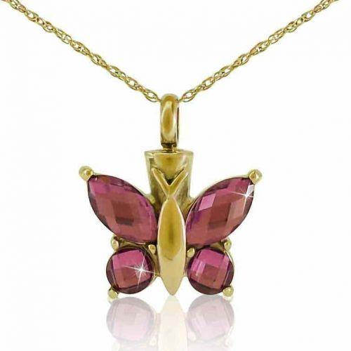 Purple Winged Butterfly Gold Keepsake Pendant Cremation Jewelry -  - 33304