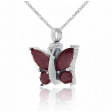 Purple Winged Butterfly Steel Keepsake Cremation Necklace