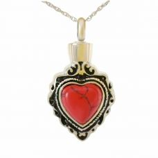 Red Heart Stone Keepsake Cremation Necklace