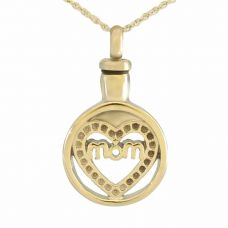 Rhinestone Mom Heart Steel Keepsake Cremation Pendant Jewelry