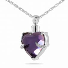 Royal Purple Heart Keepsake Cremation Jewelry Necklace