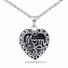 Silver Mom Heart Necklace Keepsake Cremation Chamber Jewelry