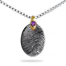 Sterling Silver Small Oval with Gold Gemstone Fingerprint Jewelry