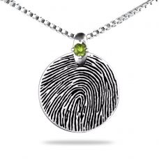 Sterling Silver Round with Silver Gem  - Any Print, Engraving