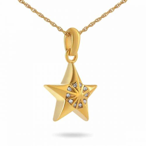 Star Bright Gold Pendant Cremation Chamber Jewelry Necklace -  - 44122