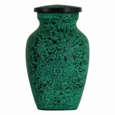 Teal Celtic Cross Keepsake Cremation Urn
