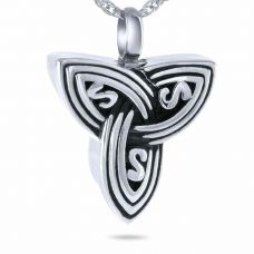 Tri-Celtic Steel Pendant Cremation Chamber Jewelry Necklace