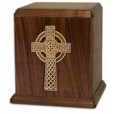 Celtic Cross Walnut Urn