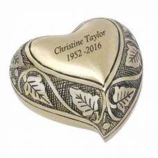 Vine Brass Heart Keepsake Cremation Urn