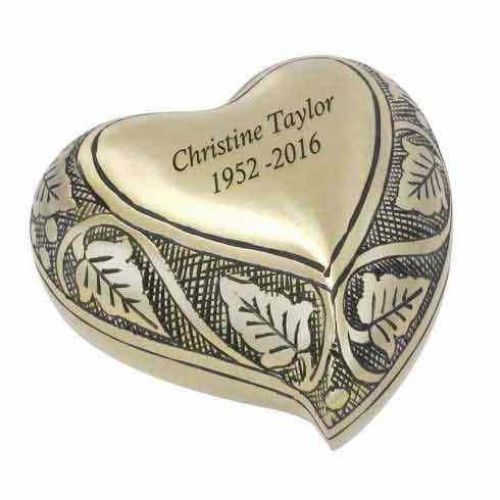 Vine Brass Heart Keepsake Cremation Urn -  - 80028