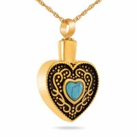 Western Heart Gold Necklace Cremation Jewelry