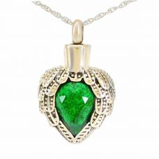 Winged Emerald Crystal Pendant Cremation Urn