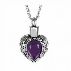 Winged Purple Crystal Pendant Cremation Chamber Jewelry Necklace