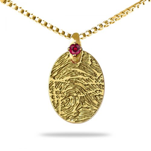 14K Gold Small Oval with Gold Gem Accent Fingerprint Jewelry -  - YG-OS-GG